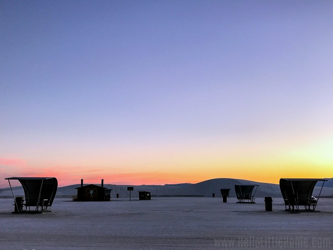 Sunset in a picnic area at White Sands National Monument.