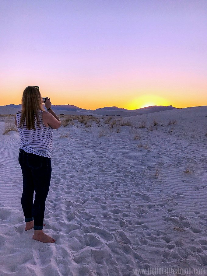Taking a sunset photo in White Sands National Monument.