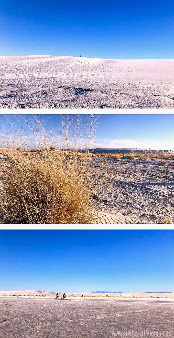 Three views of White Sands in New Mexico.