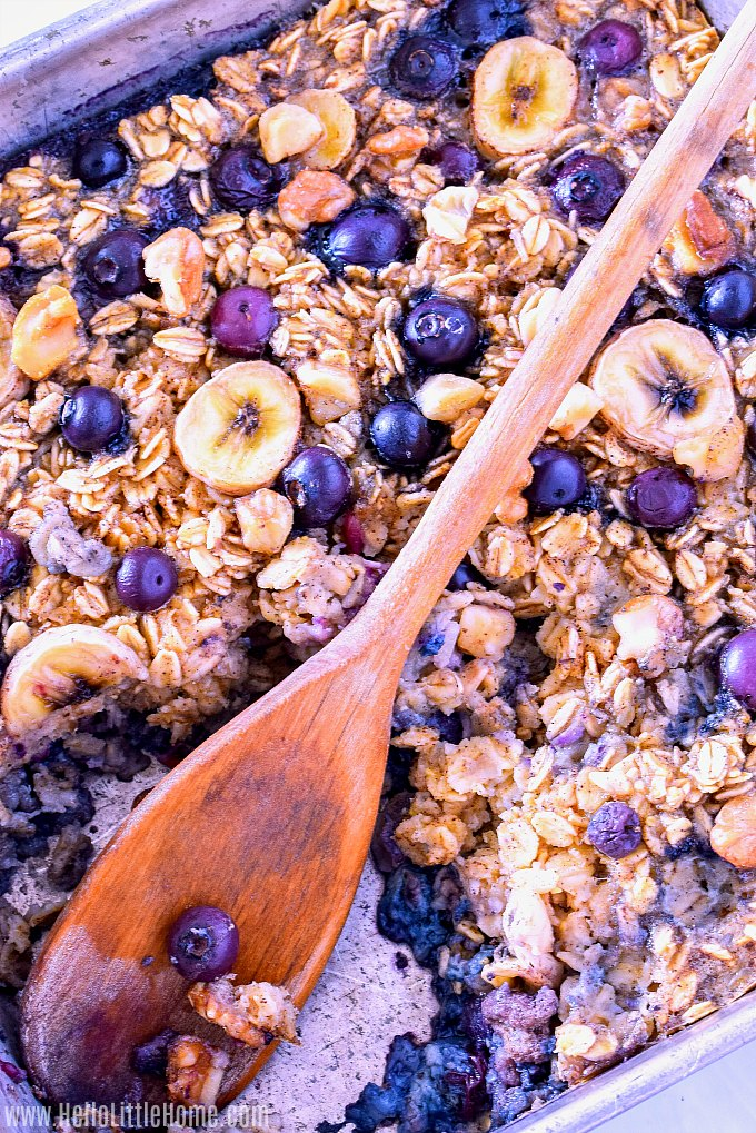 A pan of healthy Baked Oatmeal.