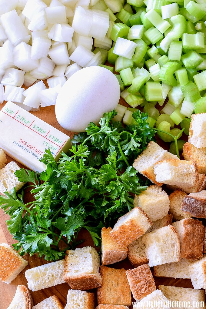 Bread Stuffing Ingredients: onions, celery, egg, butter, parlsey, and bread.