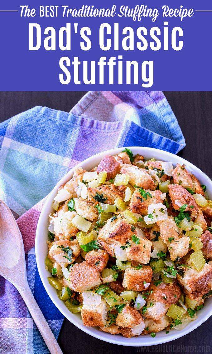 Classic Bread Stuffing Recipe served in a bowl with a wood spoon.