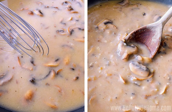 Cooking vegetarian mushroom gravy until it thickens.