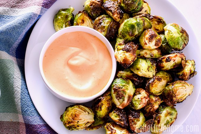 Crispy Brussels Sprouts made in the Ninja Foodi.