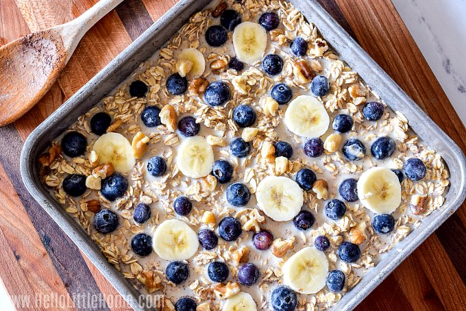 A pan with baked oatmeal ingredients ready to be cooked.