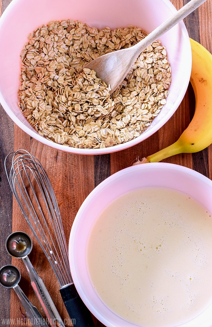 Preparing ingredients for oven baked oatmeal.