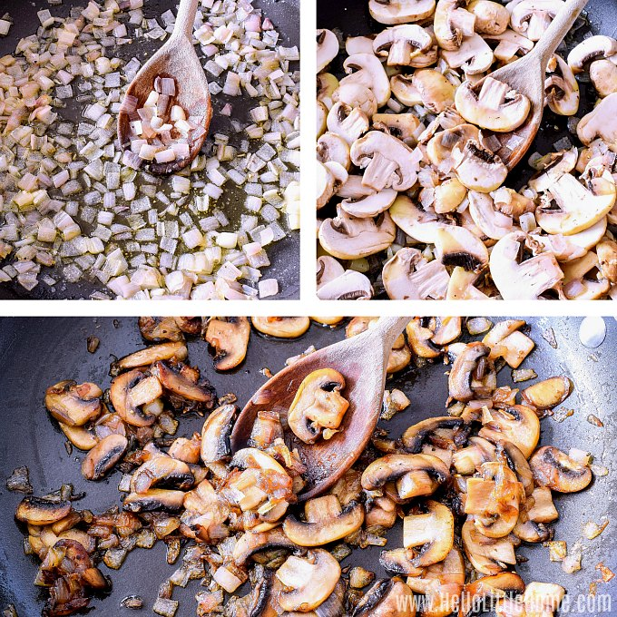 Sauteing mushrooms and shallots for vegetarian gravy.