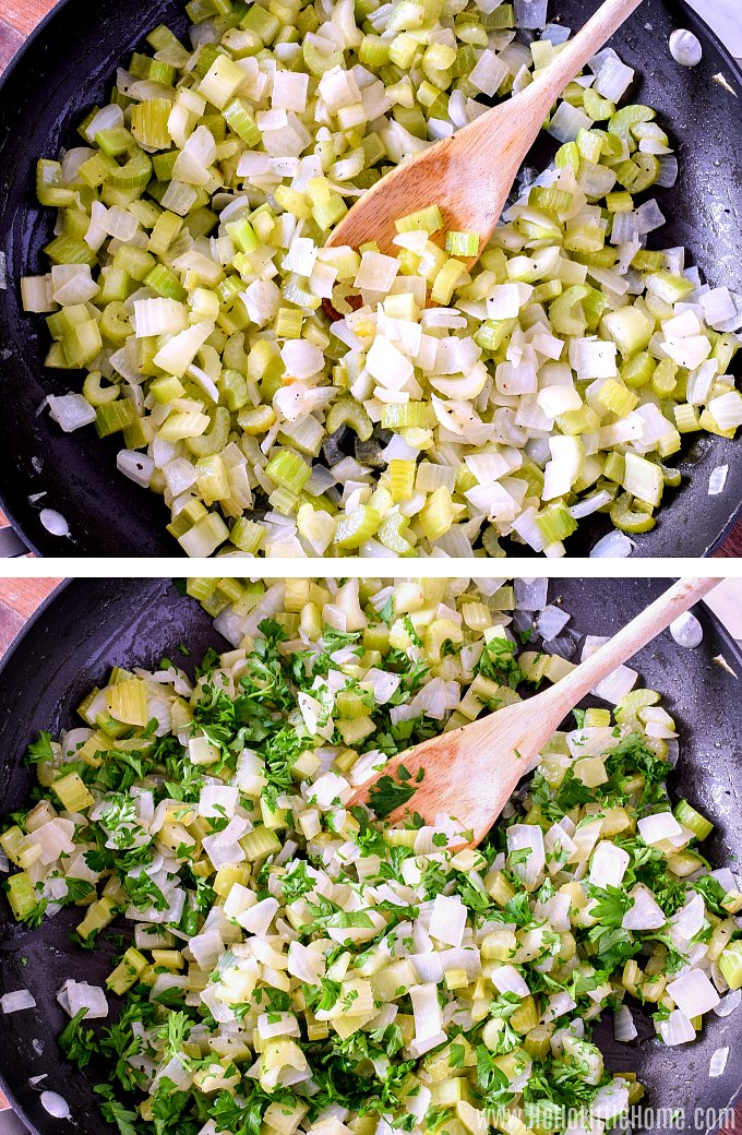Sauteing vegetables in a skillet for stuffing.