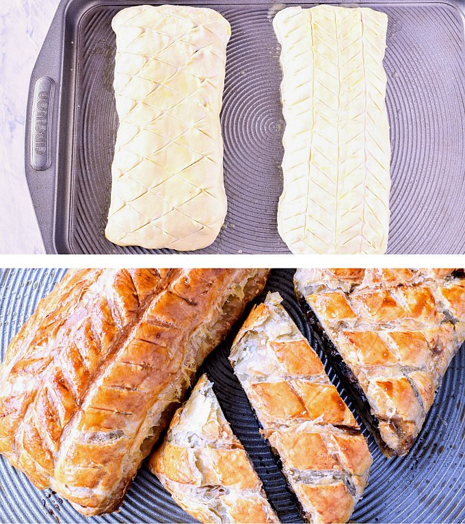 Two Vegetable Wellingtons scored with a decorative pattern then baking until golden.