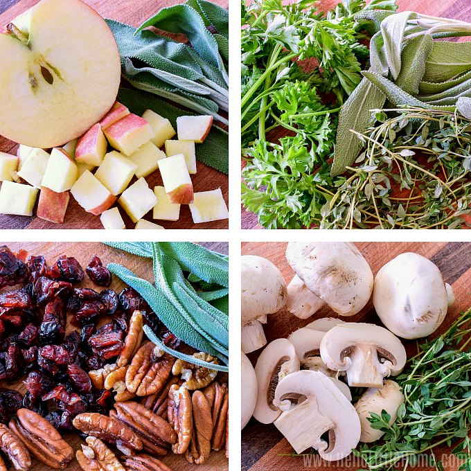 Classic stuffing variation ideas: Apple Stuffing, Herb Stuffing, Cranberry Stuffing, and Mushroom Stuffing.
