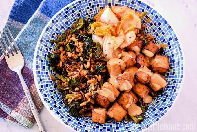 A Tofu Farro Kale Bowl made in the Ninja Foodi