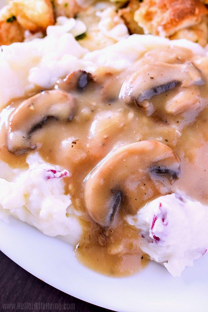 Vegetarian mushroom gravy served over mashed potatoes.