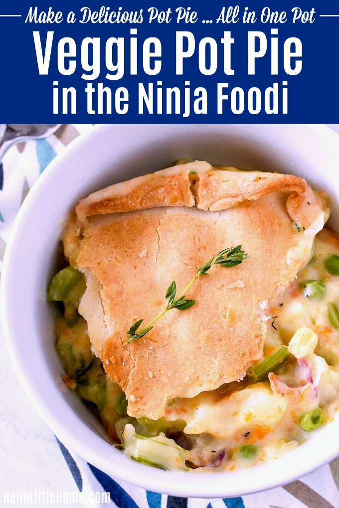 A bowl of Veggie Pot Pie made in the Ninja Foodi.