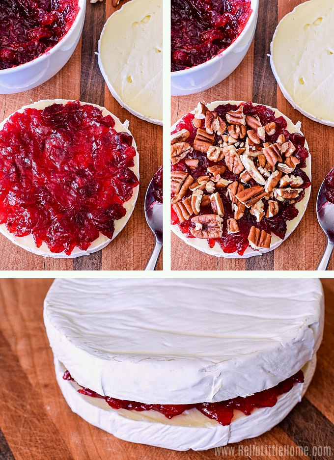 Adding cranberries and pecans to a wheel of Brie before baking.