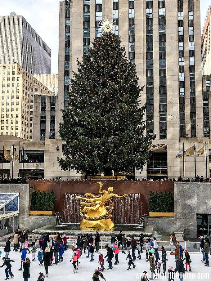 Visiting the Rockefeller Center Christmas Tree and Ice Rink, a must see thing to do during Christmas in NYC