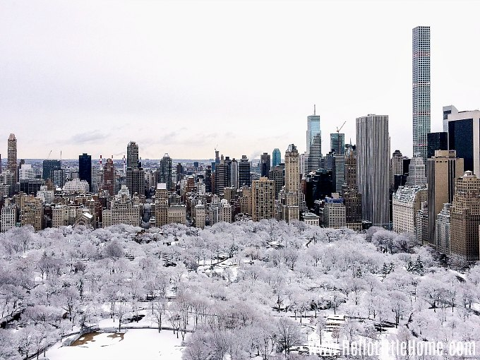 An aerial view of snow-covered Central Park during Christmas in NYC