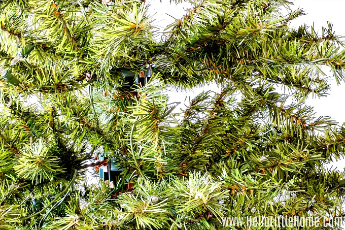 Fluffing the branches on an artificial Christmas tree.