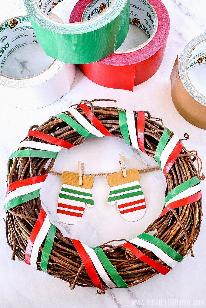 Make your own Christmas Wreath with Duck Tape.