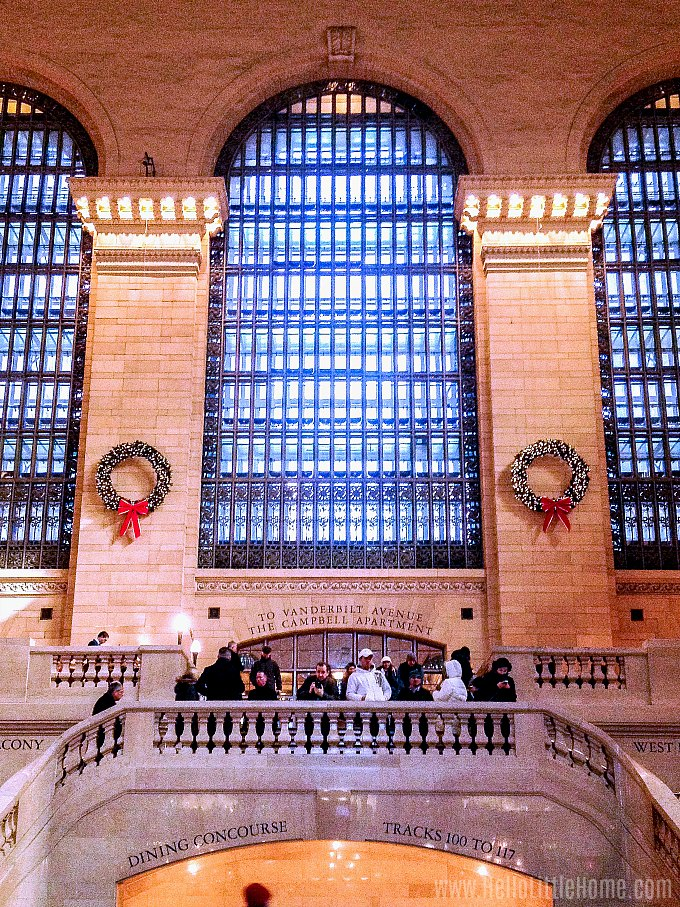 Checking out the holiday decorations in Grand Central Terminal.