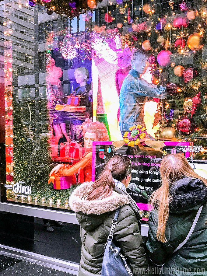 Interactive Christmas window display at Bloomingdale's in NYC.