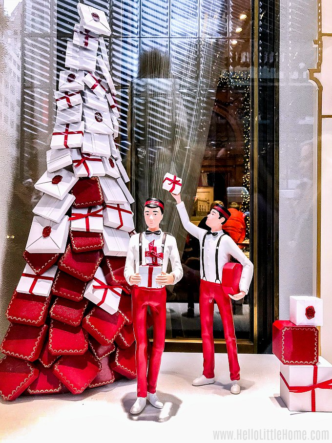 Cheery Christmas window display at Cartier on 5th Avenue in NYC.