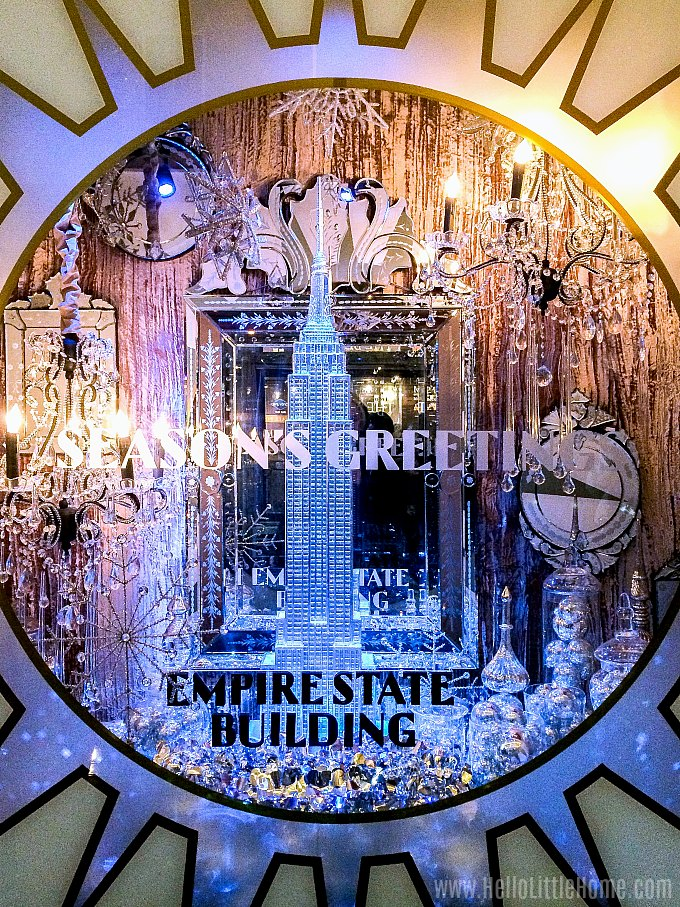 Checking out the Christmas window decorations at the Empire State Building.