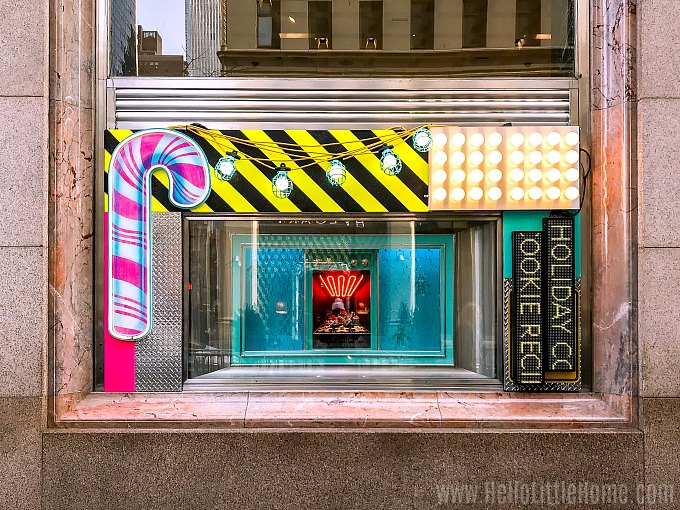 The colorful christmas window display at Tiffany & Co. in New York City
