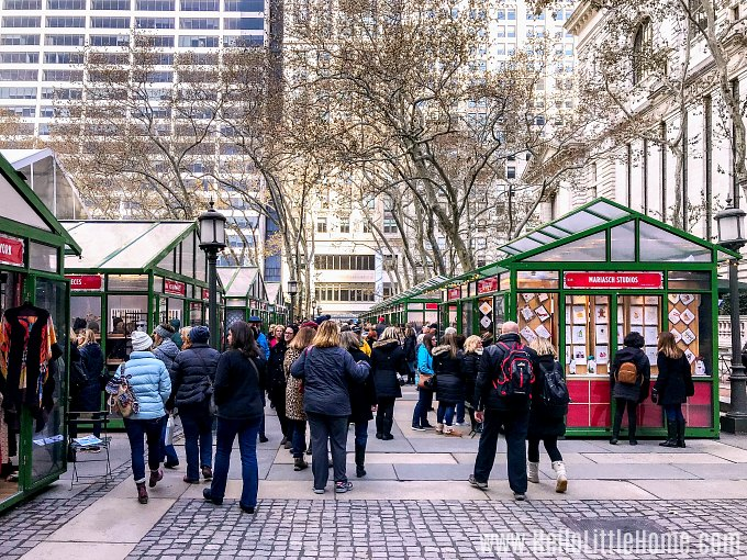 Stopping by Bryant Park during an New York City Christmas windows walking tour.