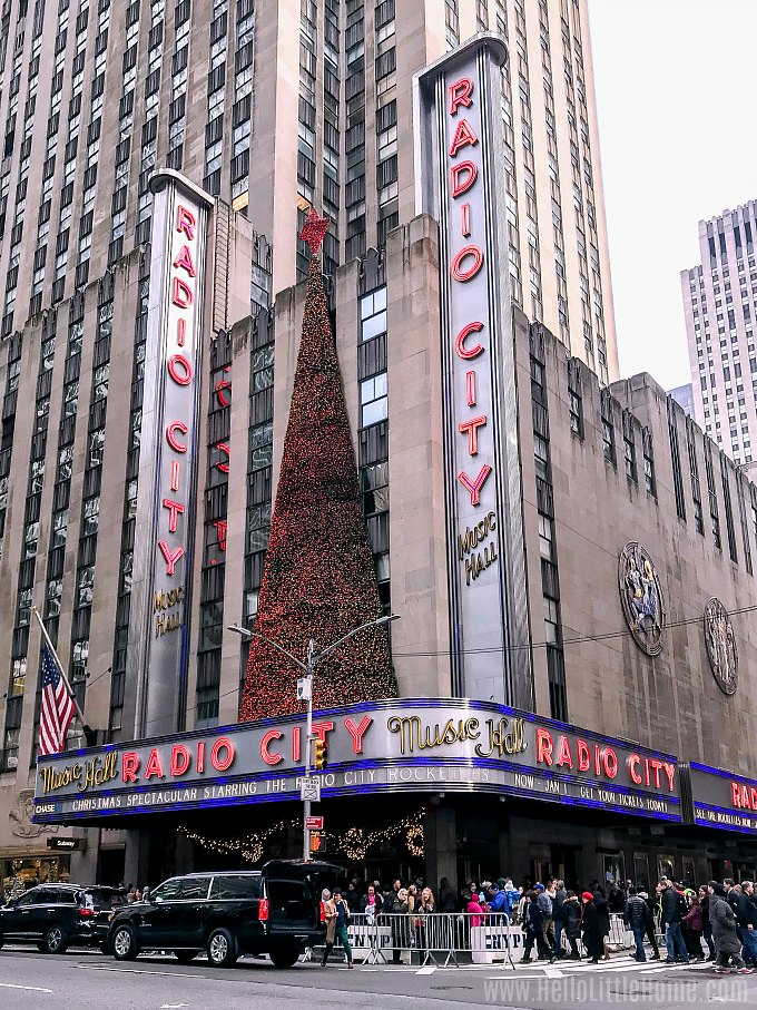 Visiting Radio City Music Hall during an NYC Christmas windows walking tour.