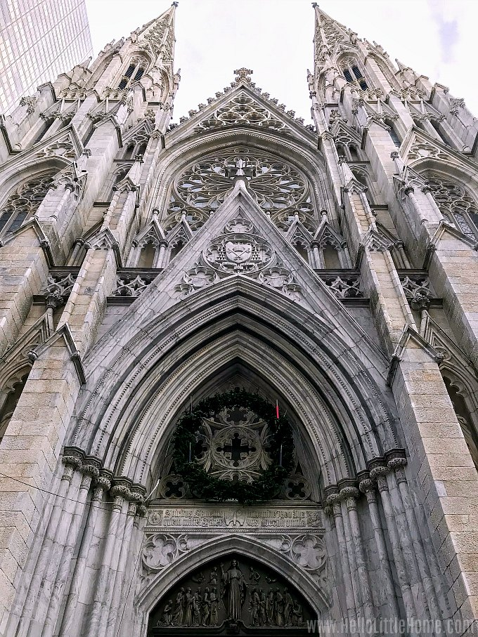 Stopping at St. Patrick's Cathedral during an NYC Christmas Windows Walking Tour