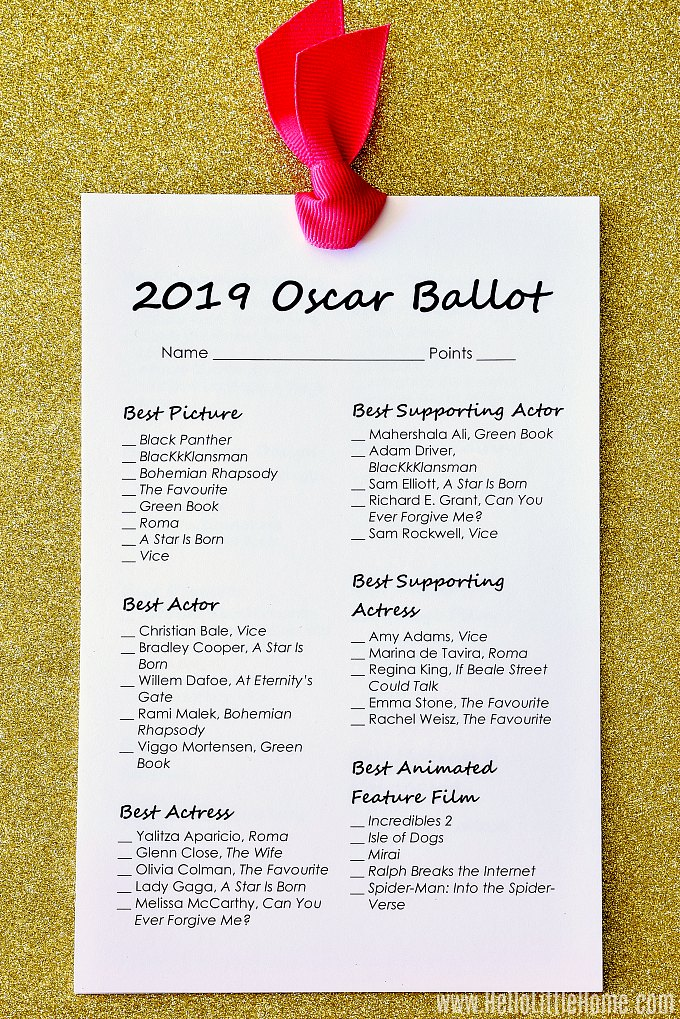 A 2019 Oscar Ballot Printable displayed on gold glitter paper.