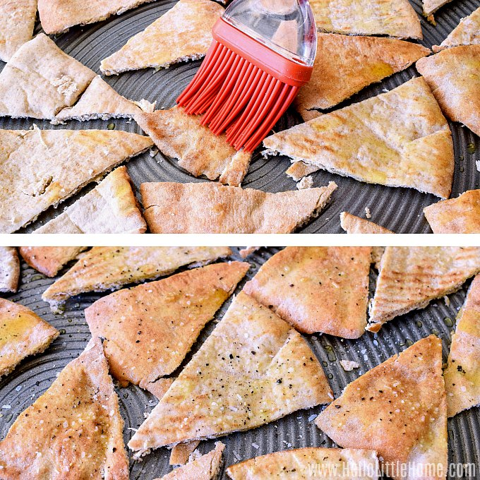 Adding olive oil and seasonings to pita bread while making pita chips.