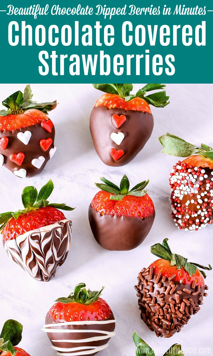 How to make Chocolate Covered Strawberries! This easy Chocolate Covered Strawberries recipe shows you how to make fancy chocolate dipped strawberries fast. Tips for adding gourmet toppings and decorating Chocolate Strawberries (marbled, sprinkles, nuts, white chocolate, more)! Perfect for Valentine's Day, Mother's Day, Easter, Weddings, Birthdays, Baby Showers, more! | Hello Little Home #chocolatecoveredstrawberries #chocolatedipped #chocolate #strawberries #valentinesday #chocolaterecipes