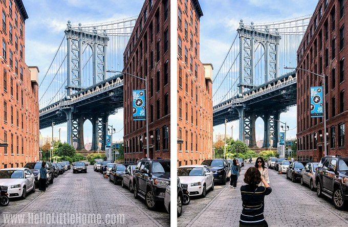 A famous DUMBO Instagram location of the Manhattan Bridge.