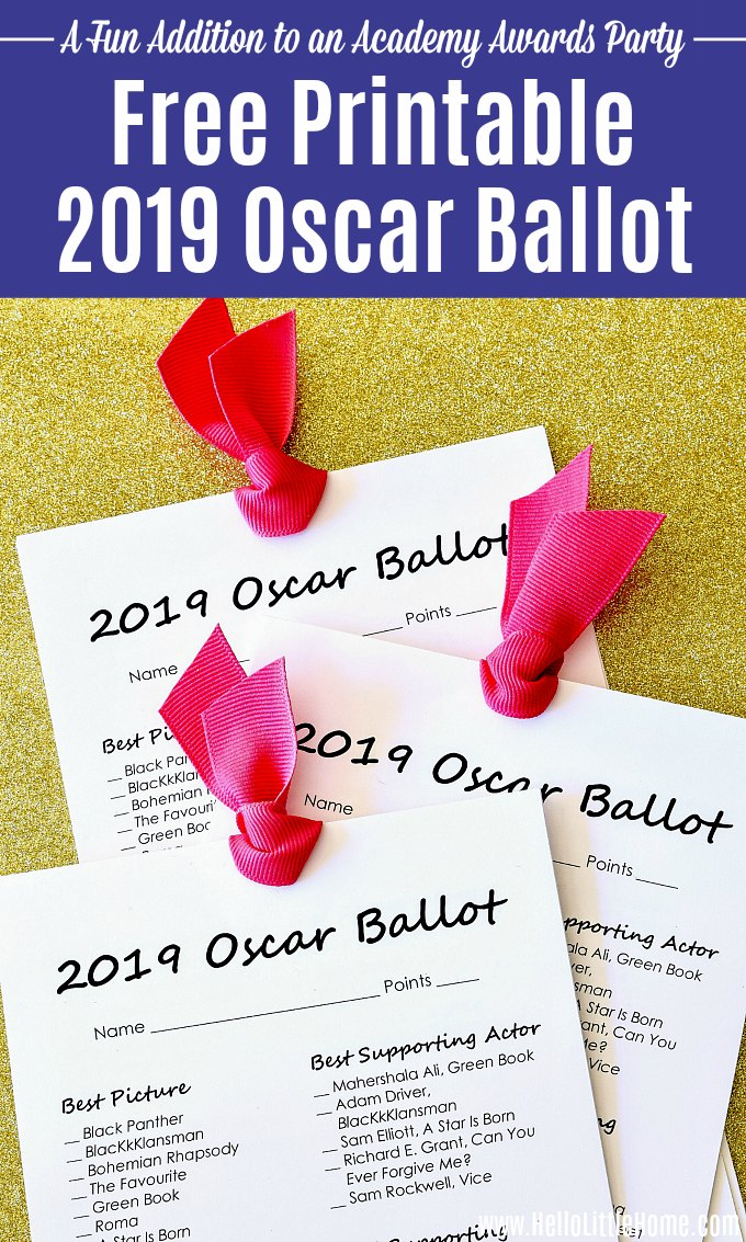 3 Free Printable 2019 Oscar Ballots on gold glitter paper.