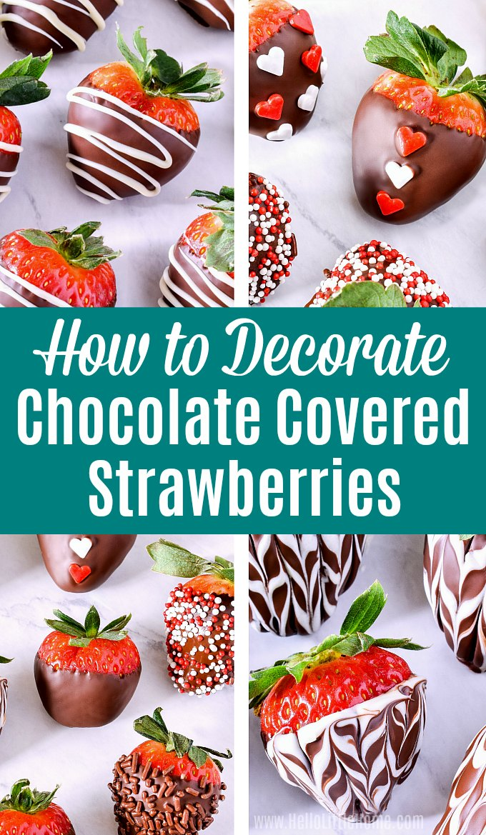 A photo collage showing how to decorate chocolate covered strawberries using different techniques.