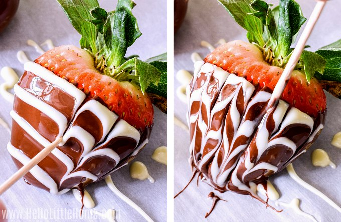 Making marbled chocolate covered strawberries using white chocolate and a toothpick.