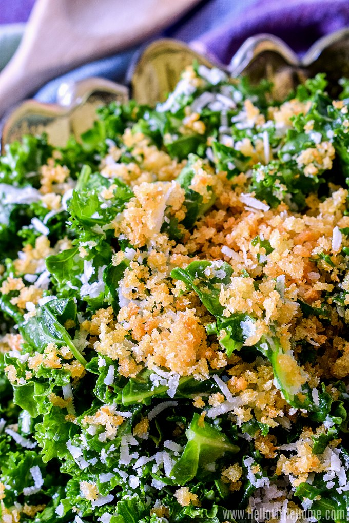 Closeup of a Massaged Kale Salad topped with Bread Crumbs and Parmesan Cheese.