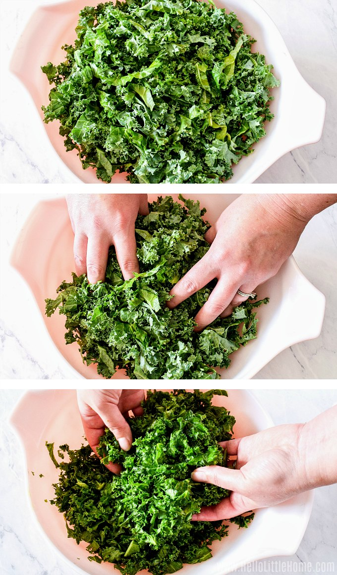 Massaging kale with olive oil and salt for salad.