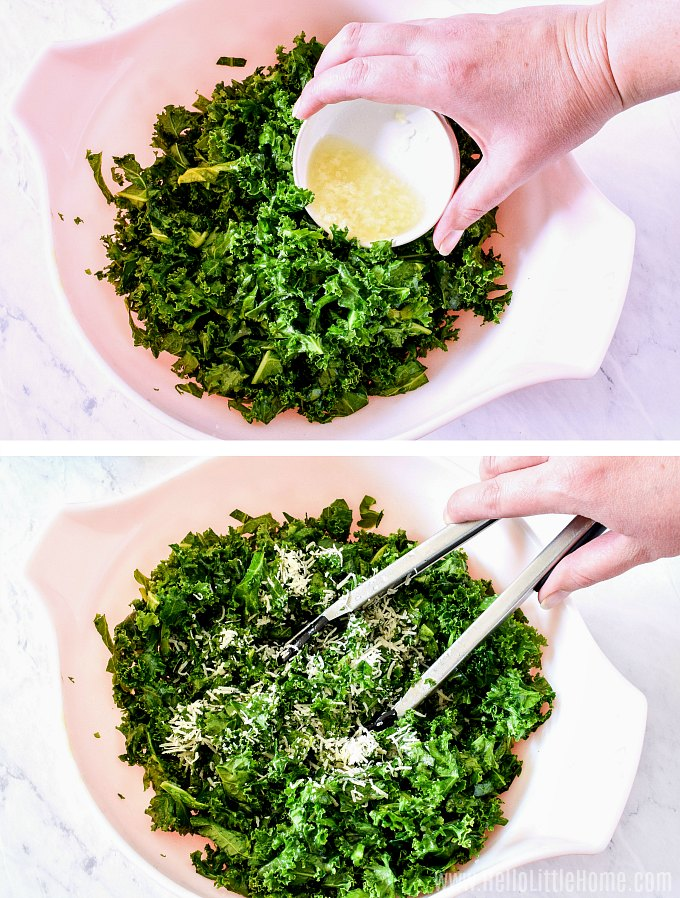 Mixing kale salad with lemon dressing.