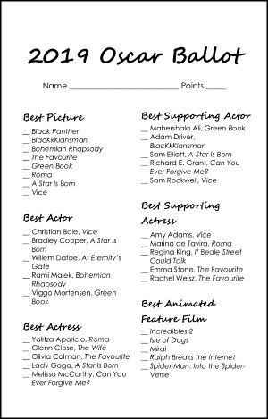 picture relating to Oscar Ballots Printable named Free of charge Printable 2019 Oscar Ballot Howdy Small Dwelling