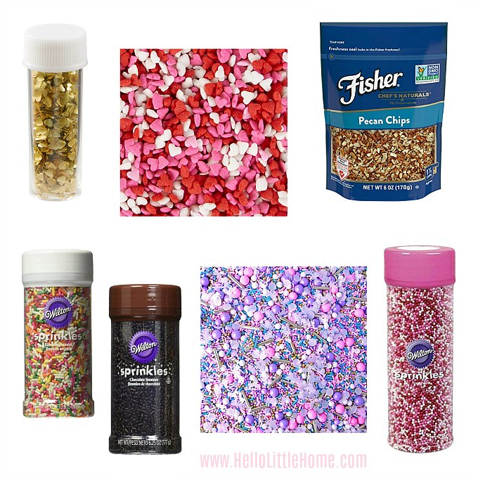 Different types of sprinkles for decorating chocolate covered strawberries.