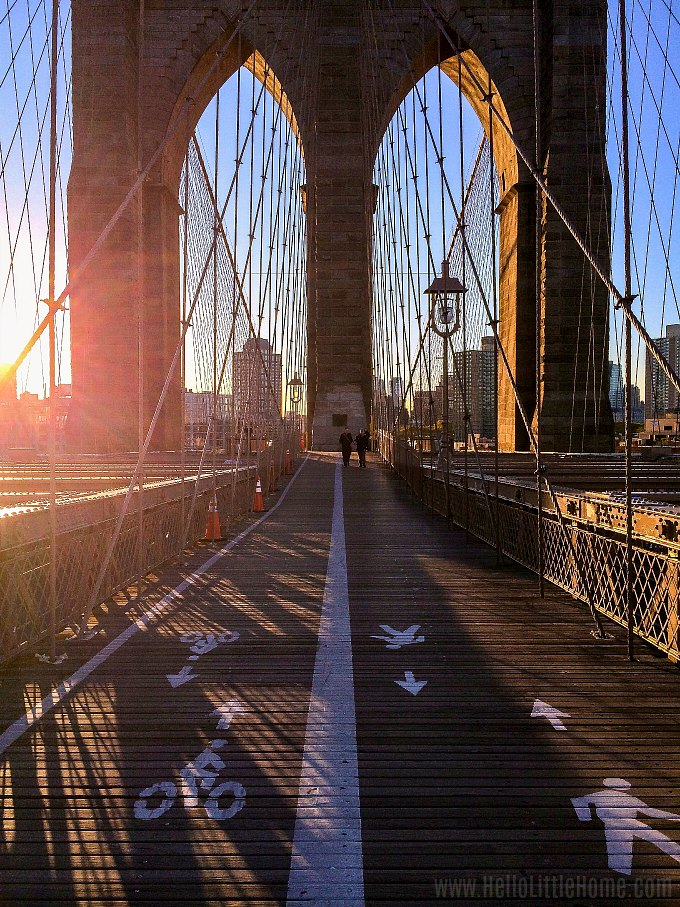 Sunrise on the Brooklyn Bridge in New York.