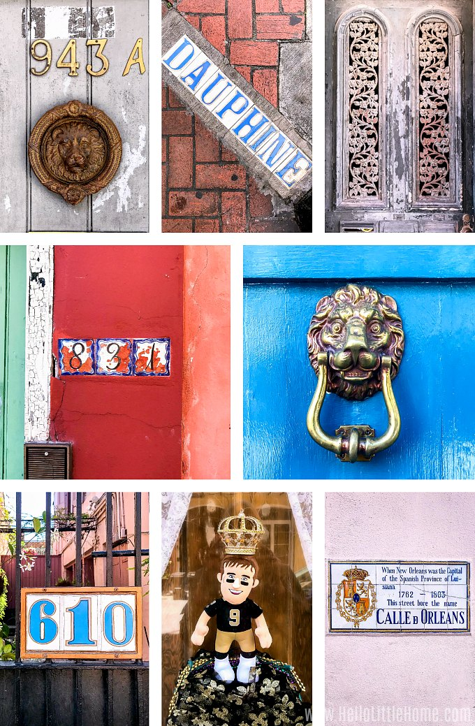 Collage of different French Quarter artchitectural details.