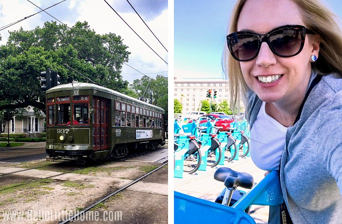 A collage showing a streetcar and the author on a bike.