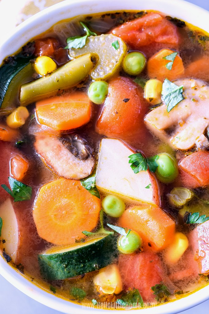 Closeup of a bowl of healthy Vegetable Soup.