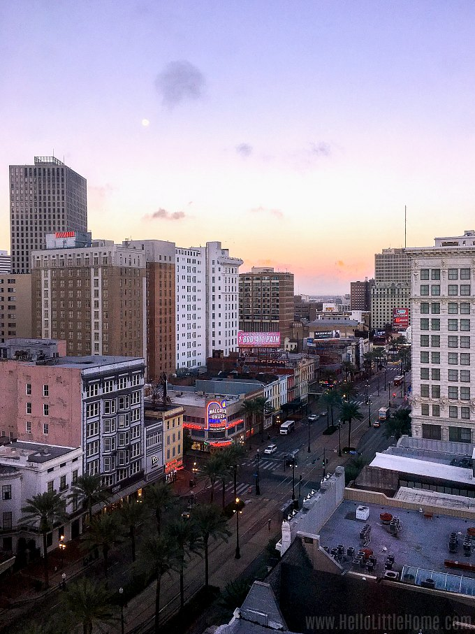 A photo of Canal Street at sunset.