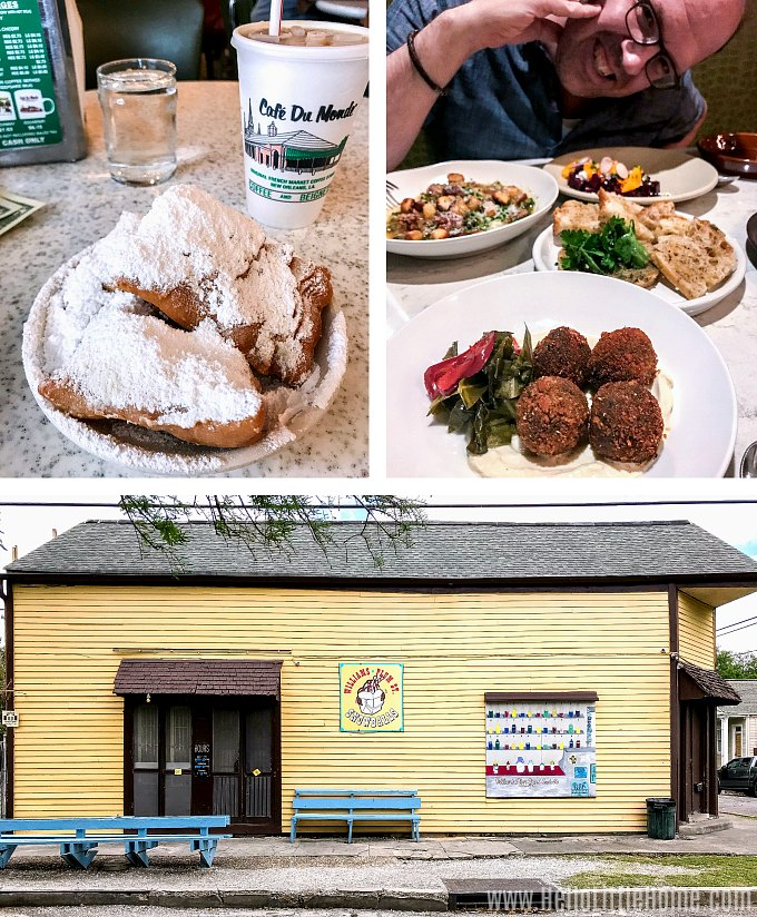 Collage of New Orleans Food and Drinks: beignets, cafe au lait, DTB restaurant, and Williams Snoballs.