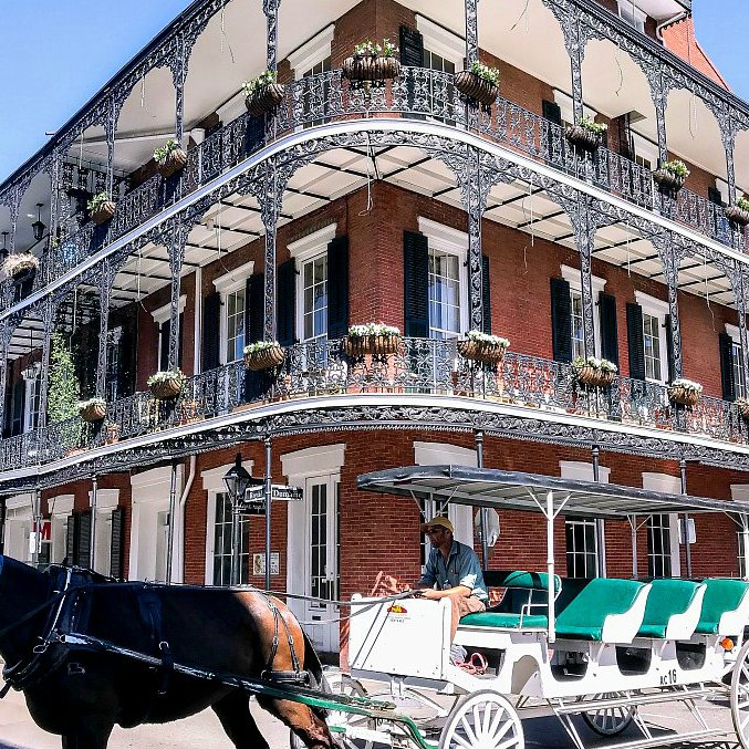 An ornate building in the French Quarter.