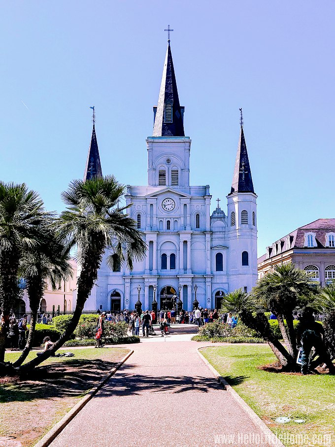 A photo of Jackson Square and St. Louis Cathedral in the French Quarter.